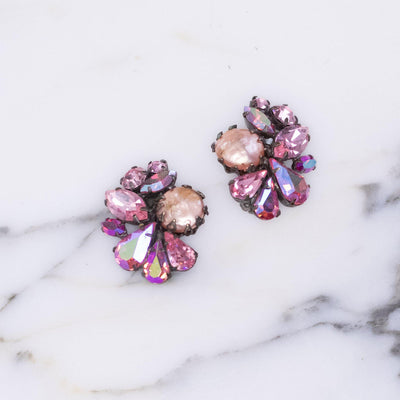 Vintage Pink Pearl and Pink Rhinestone Cluster Statement Earrings by Unsigned - Vintage Meet Modern Vintage Jewelry - Chicago, Illinois - #oldhollywoodglamour #vintagemeetmodern #designervintage #jewelrybox #antiquejewelry #vintagejewelry
