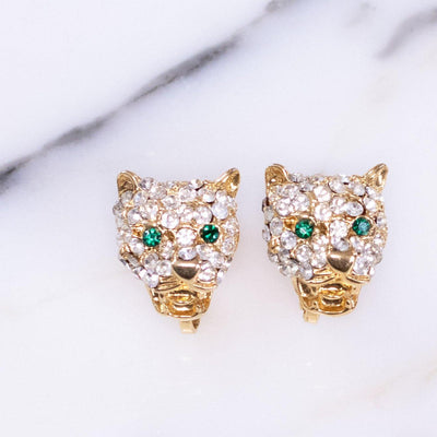 Vintage Puccini Pave Crystal and Emerald Eye Jaguar Earrings by Vintage Meet Modern  - Vintage Meet Modern - Chicago, Illinois