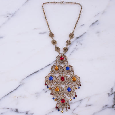 Vintage Huge Filigree Pendant Necklace with Colorful Glass Cabochons in Blue, Red, and Citrine by Vintage Meet Modern  - Vintage Meet Modern - Chicago, Illinois