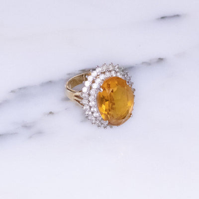 Vintage 1980s Citrine Crystal Statement Ring with Princess Halo Setting by 1980s - Vintage Meet Modern Vintage Jewelry - Chicago, Illinois - #oldhollywoodglamour #vintagemeetmodern #designervintage #jewelrybox #antiquejewelry #vintagejewelry