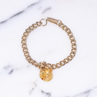Vintage Bee Hive Bee My Honey Charm Bracelet by Vintage Meet Modern  - Vintage Meet Modern Vintage Jewelry - Chicago, Illinois - #oldhollywoodglamour #vintagemeetmodern #designervintage #jewelrybox #antiquejewelry #vintagejewelry
