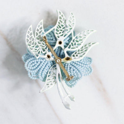 Vintage Blue Wired Beaded Flower Brooch by Unsigned Beauty - Vintage Meet Modern Vintage Jewelry - Chicago, Illinois - #oldhollywoodglamour #vintagemeetmodern #designervintage #jewelrybox #antiquejewelry #vintagejewelry