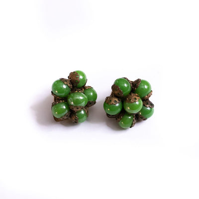 Vintage Made In Italy Green Glass Bead Earrings by Made in Italy - Vintage Meet Modern Vintage Jewelry - Chicago, Illinois - #oldhollywoodglamour #vintagemeetmodern #designervintage #jewelrybox #antiquejewelry #vintagejewelry