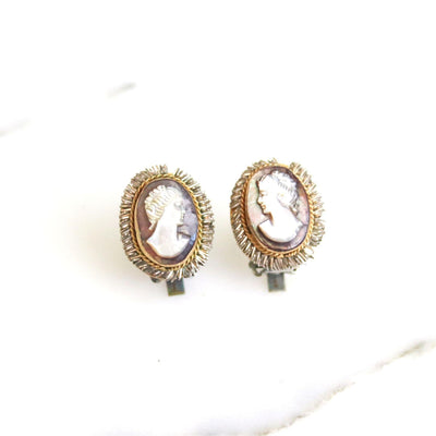 Art Deco Era Carved Mother of Pearl Cameo 750 Silver with Gold Accents - Vintage Meet Modern  vintage.meet.modern.jewelry