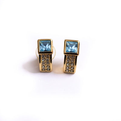 Vintage 1980s Swarovski Blue Crystal and Pave Diamante Rhinestone Earrings by Swarovski - Vintage Meet Modern Vintage Jewelry - Chicago, Illinois - #oldhollywoodglamour #vintagemeetmodern #designervintage #jewelrybox #antiquejewelry #vintagejewelry