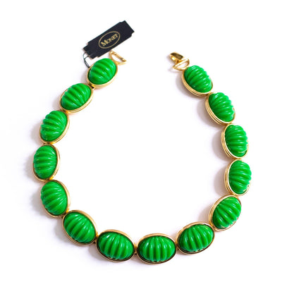 Vintage Monet Green Lucite Bead Necklace by Monet - Vintage Meet Modern Vintage Jewelry - Chicago, Illinois - #oldhollywoodglamour #vintagemeetmodern #designervintage #jewelrybox #antiquejewelry #vintagejewelry