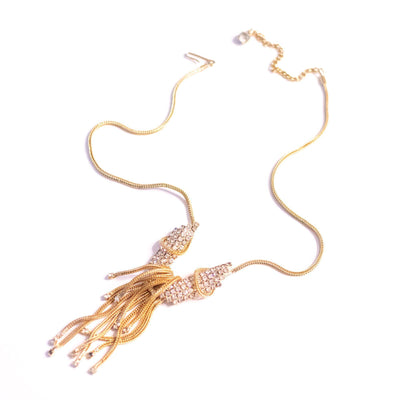 Vintage Gold Tassel Necklace with Rhinestones by Unsigned Beauty - Vintage Meet Modern Vintage Jewelry - Chicago, Illinois - #oldhollywoodglamour #vintagemeetmodern #designervintage #jewelrybox #antiquejewelry #vintagejewelry
