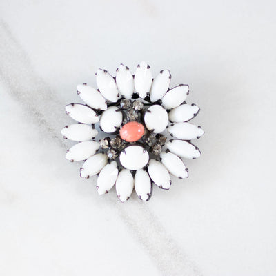 Vintage Milk Glass, Coral Glass, and Diamante  Brooch by Unsigned Beuty - Vintage Meet Modern Vintage Jewelry - Chicago, Illinois - #oldhollywoodglamour #vintagemeetmodern #designervintage #jewelrybox #antiquejewelry #vintagejewelry