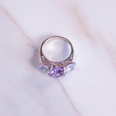 Vintage Amethyst Crystal and Diamante Three Stone Ring by Unsigned Beauty - Vintage Meet Modern Vintage Jewelry - Chicago, Illinois - #oldhollywoodglamour #vintagemeetmodern #designervintage #jewelrybox #antiquejewelry #vintagejewelry