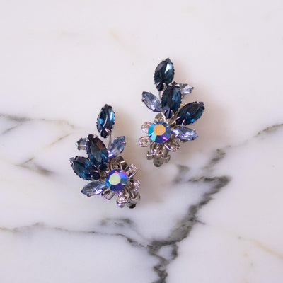 Vintage Blue Rhinestone Ear Crawler Statement Earrings by Unsigned Beauties - Vintage Meet Modern Vintage Jewelry - Chicago, Illinois - #oldhollywoodglamour #vintagemeetmodern #designervintage #jewelrybox #antiquejewelry #vintagejewelry