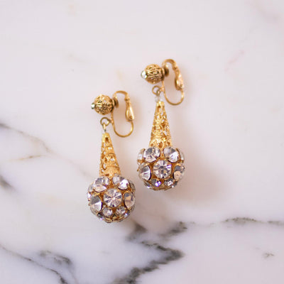 Vintage Diamante Rhinestone Dangling Earrings by Unsigned Beauty - Vintage Meet Modern Vintage Jewelry - Chicago, Illinois - #oldhollywoodglamour #vintagemeetmodern #designervintage #jewelrybox #antiquejewelry #vintagejewelry