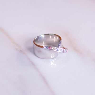 Vintage Silver Wide Band Ring With Pastel Cubic Zirconias by Vintage Meet Modern  - Vintage Meet Modern Vintage Jewelry - Chicago, Illinois - #oldhollywoodglamour #vintagemeetmodern #designervintage #jewelrybox #antiquejewelry #vintagejewelry