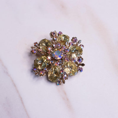 Vintage Lemon Crystal and Aurora Borealis Rhinestone Brooch by Unsigned Beauty - Vintage Meet Modern Vintage Jewelry - Chicago, Illinois - #oldhollywoodglamour #vintagemeetmodern #designervintage #jewelrybox #antiquejewelry #vintagejewelry