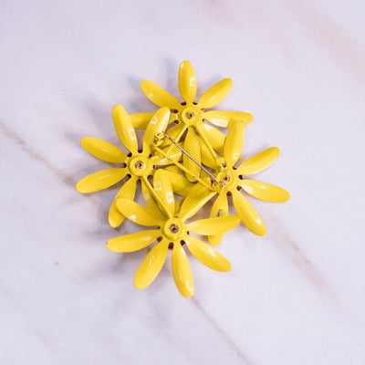 Vintage Yellow Flowers Painted Enamel Brooch by Unsigned Beauty - Vintage Meet Modern Vintage Jewelry - Chicago, Illinois - #oldhollywoodglamour #vintagemeetmodern #designervintage #jewelrybox #antiquejewelry #vintagejewelry