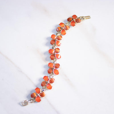 Vintage Orange Flower Statement Bracelet by Unsigned Beauty - Vintage Meet Modern Vintage Jewelry - Chicago, Illinois - #oldhollywoodglamour #vintagemeetmodern #designervintage #jewelrybox #antiquejewelry #vintagejewelry