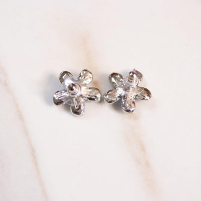 Vintage Silver with Blue Rhinestone Flower Earrings by Avon - Vintage Meet Modern Vintage Jewelry - Chicago, Illinois - #oldhollywoodglamour #vintagemeetmodern #designervintage #jewelrybox #antiquejewelry #vintagejewelry