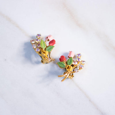 Vintage Petite Red, Pink, and Yellow Rose Earrings with Aurora Borealis Rhinestones by Made in Austria - Vintage Meet Modern Vintage Jewelry - Chicago, Illinois - #oldhollywoodglamour #vintagemeetmodern #designervintage #jewelrybox #antiquejewelry #vintagejewelry