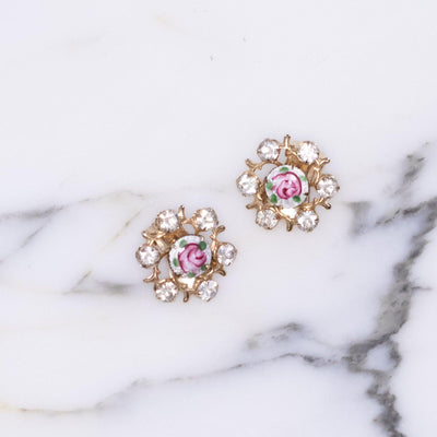 Vintage Guilloche Pink Rose Earrings with Rhinestones by Unsigned Beauty - Vintage Meet Modern - Chicago, Illinois