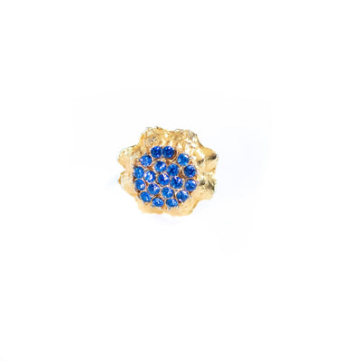 Blue Rhinestones Cluster Cocktail Ring by Unsigned Beauty - Vintage Meet Modern Vintage Jewelry - Chicago, Illinois - #oldhollywoodglamour #vintagemeetmodern #designervintage #jewelrybox #antiquejewelry #vintagejewelry