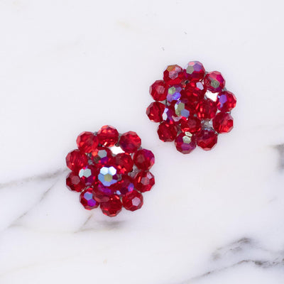 Vintage Red Aurora Borealis Beaded Cluster Statement Earrings by Austria - Vintage Meet Modern - Chicago, Illinois