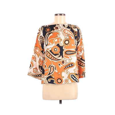 J.Crew Navy Orange Paisley 3/4 Sleeve Silk Top by J.Crew - Vintage Meet Modern Vintage Jewelry - Chicago, Illinois - #oldhollywoodglamour #vintagemeetmodern #designervintage #jewelrybox #antiquejewelry #vintagejewelry