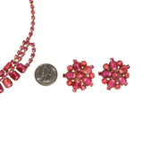 Pink Rhinestone Necklace and Earring Set - Vintage Meet Modern  - 3