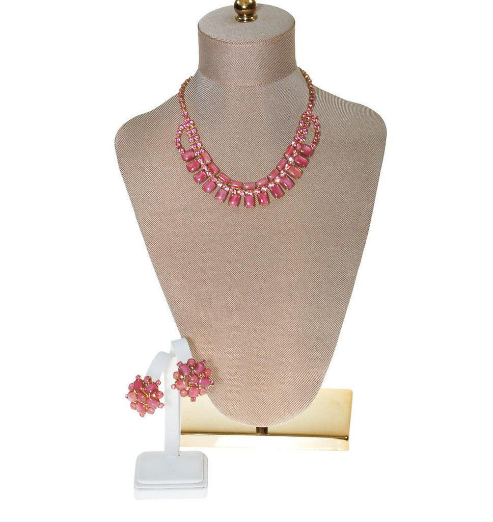 Pink Rhinestone Necklace and Earring Set - Vintage Meet Modern  - 2