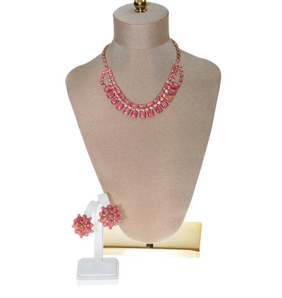 Pink Rhinestone Necklace and Earring Set by Unsigned Beauty - Vintage Meet Modern Vintage Jewelry - Chicago, Illinois - #oldhollywoodglamour #vintagemeetmodern #designervintage #jewelrybox #antiquejewelry #vintagejewelry