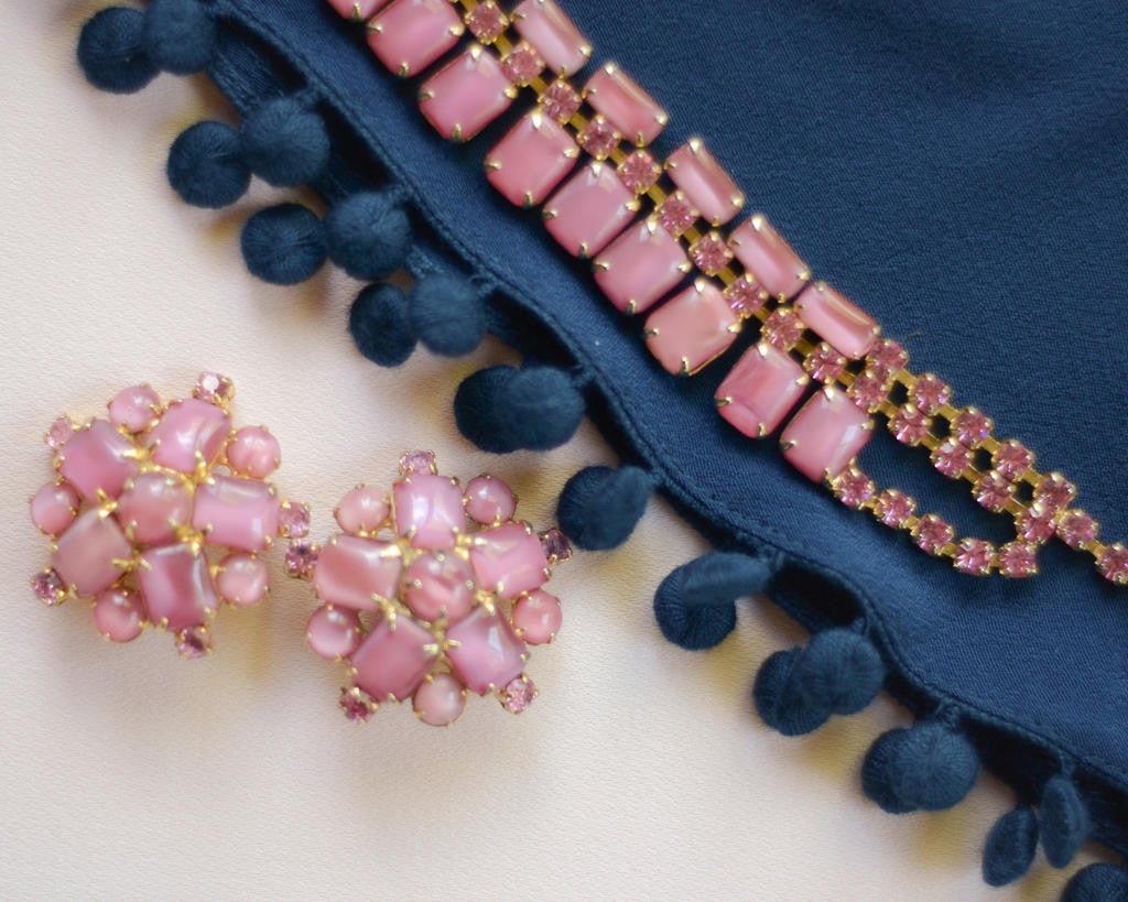 Pink Rhinestone Necklace and Earring Set - Vintage Meet Modern  - 6