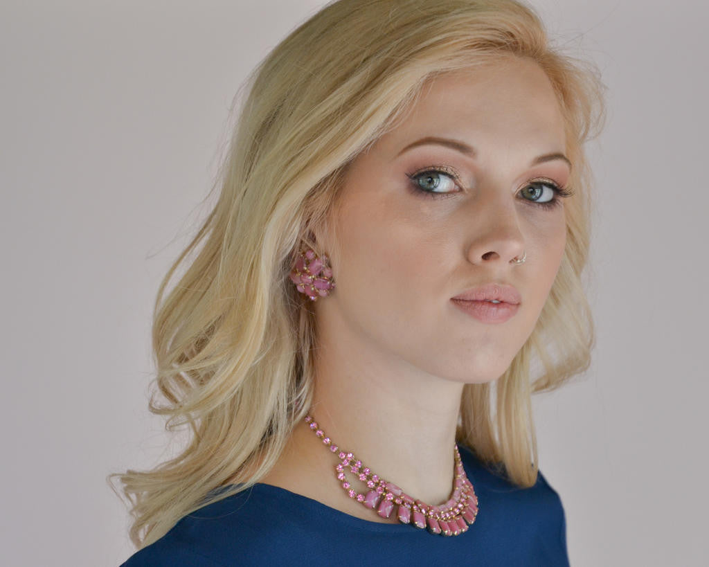 Pink Rhinestone Necklace and Earring Set - Vintage Meet Modern  - 5