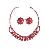 Pink Rhinestone Necklace and Earring Set - Vintage Meet Modern  - 1