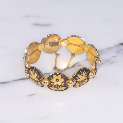 Vintage Damascene Gold and Black Round Panel Link Bracelet with Flowers and Birds by Made in Spain - Vintage Meet Modern - Chicago, Illinois