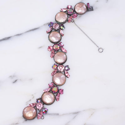 Vintage Pink Pearl and Pink Rhinestone Bracelet by Unsigned - Vintage Meet Modern - Chicago, Illinois