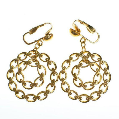Authentic VIntage Gold Doorknocker Hoop Earrings Interlocking Link Design Clip On New Old Stock