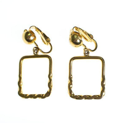 Authentic Vintage Gold Square Geometric Dangling Hoop Earrings Minimalist