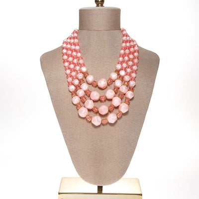 Pink Multi Strand Chunky Bead Necklace by Unsigned Beauty - Vintage Meet Modern Vintage Jewelry - Chicago, Illinois - #oldhollywoodglamour #vintagemeetmodern #designervintage #jewelrybox #antiquejewelry #vintagejewelry