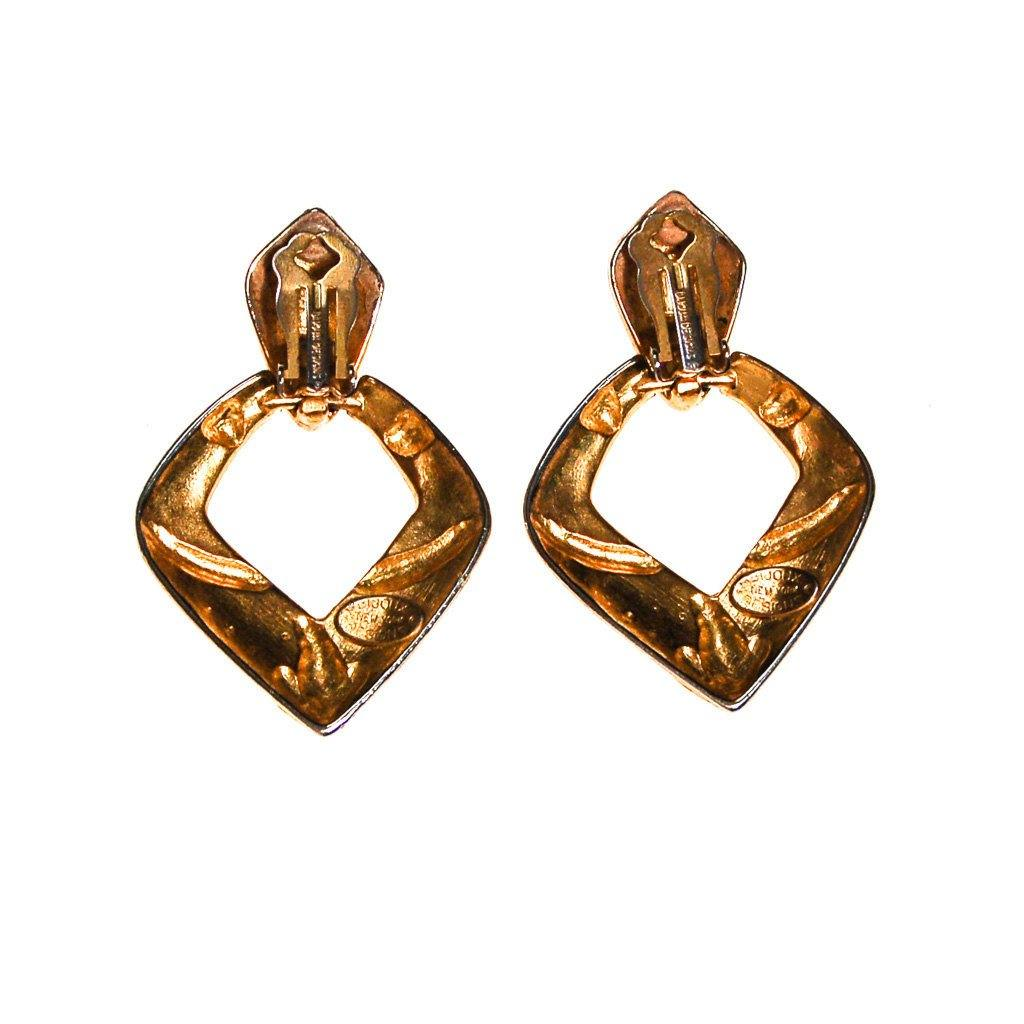 Bijoux Designs Door Knocker Earring in Gold Tone with Black Enamel and  Rhinestones - Vintage Meet Modern  - 4
