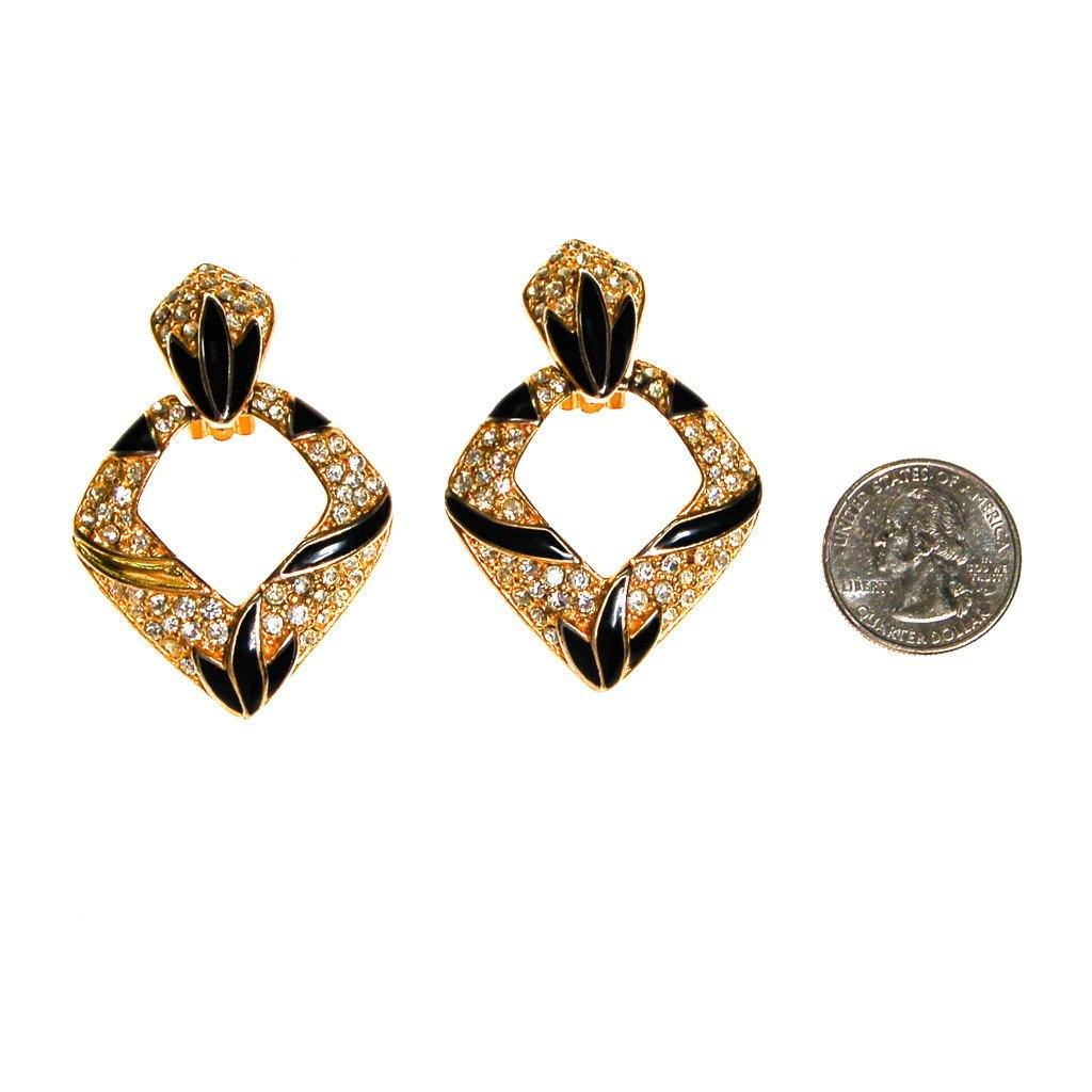 Bijoux Designs Door Knocker Earring in Gold Tone with Black Enamel and  Rhinestones - Vintage Meet Modern  - 3