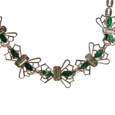 Green and Diamante Rhinestone Butterfly Choker Necklace by Unsigned Beauty - Vintage Meet Modern - Chicago, Illinois
