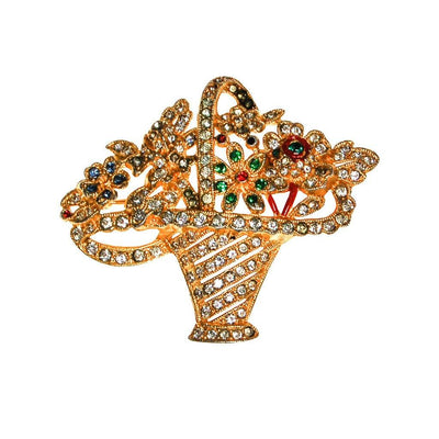 Basket of Flowers Rhinestone Brooch, Brooch - Vintage Meet Modern