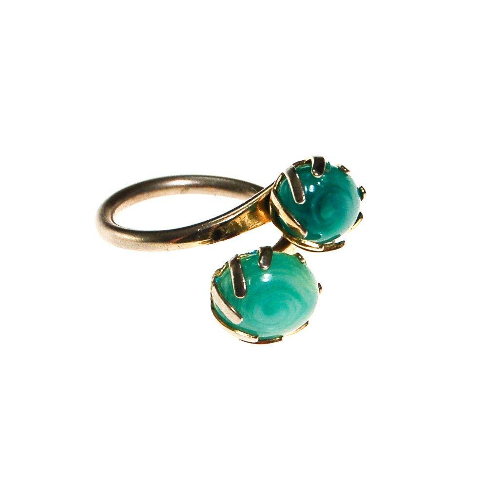 Sarah Coventry Aqua Art Glass Ring - Vintage Meet Modern  - 3
