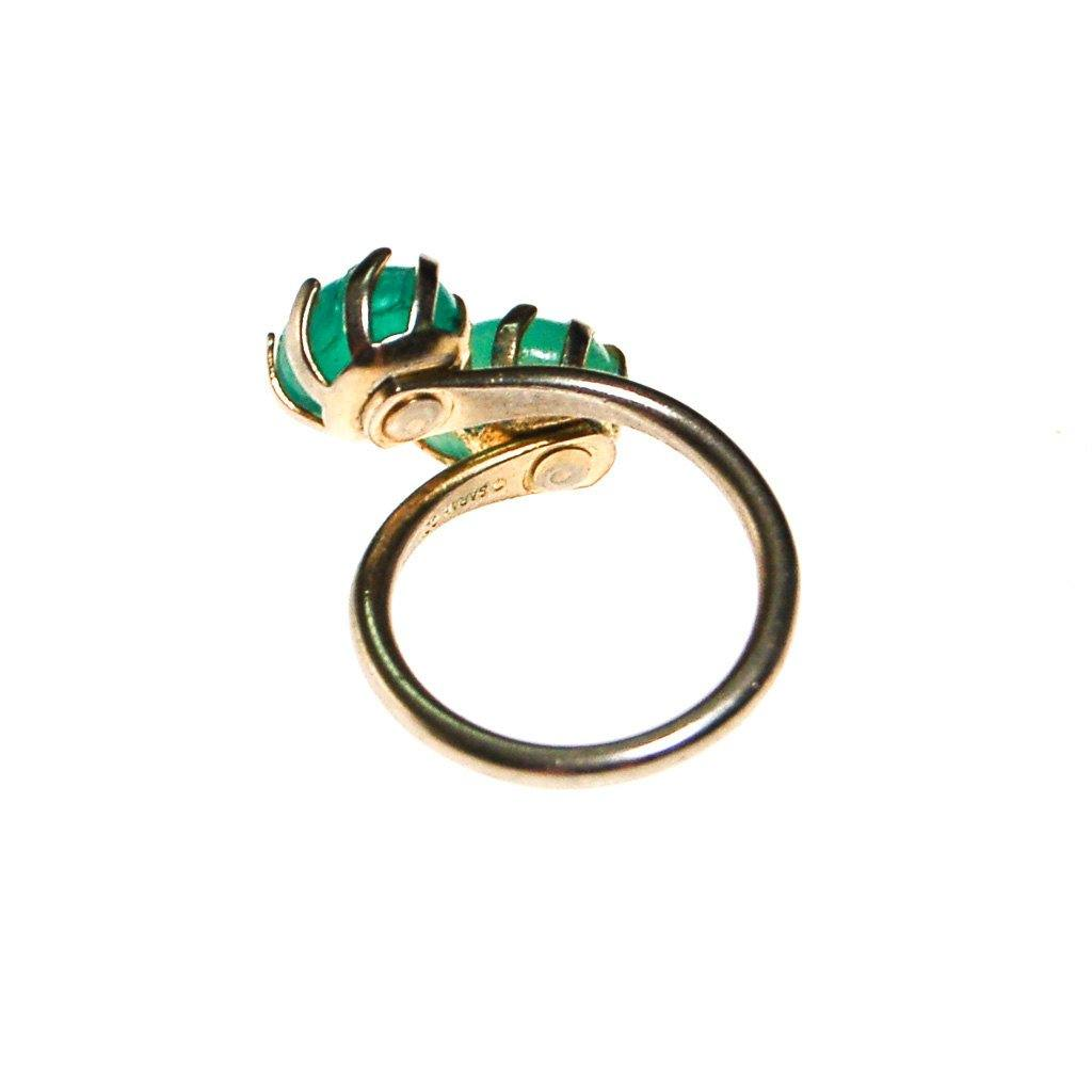 Sarah Coventry Aqua Art Glass Ring - Vintage Meet Modern  - 4