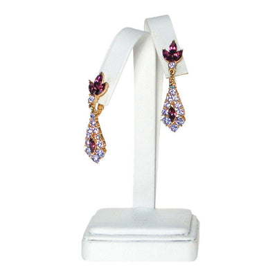 Crown Trifari Purple and Lavender Rhinestone Earrings by Crown Trifari - Vintage Meet Modern Vintage Jewelry - Chicago, Illinois - #oldhollywoodglamour #vintagemeetmodern #designervintage #jewelrybox #antiquejewelry #vintagejewelry