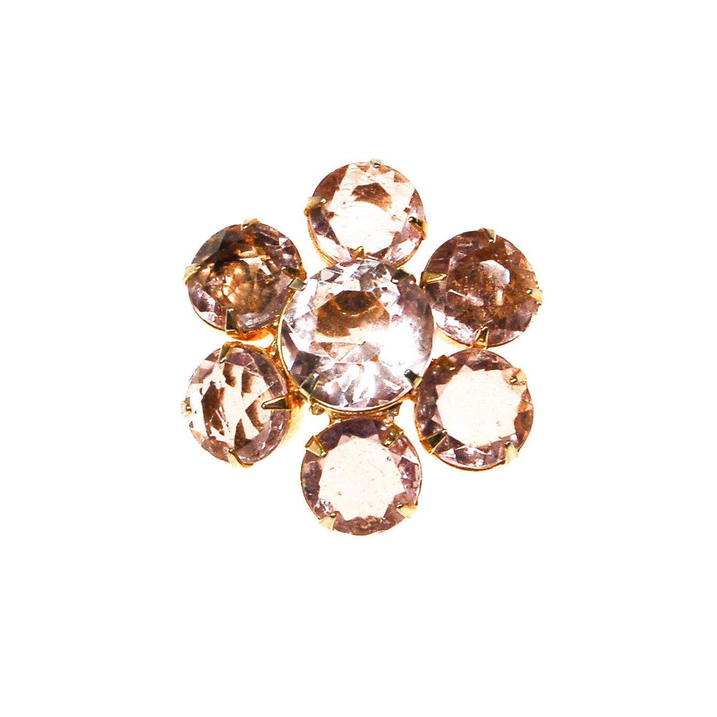 Pale Pink Crystal Flower Brooch - Vintage Meet Modern  - 1