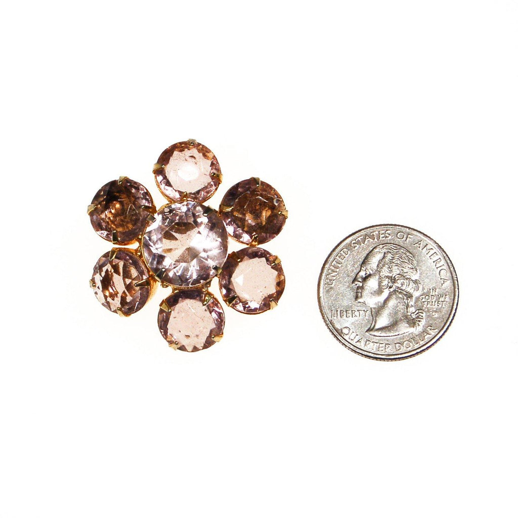 Pale Pink Crystal Flower Brooch - Vintage Meet Modern  - 2