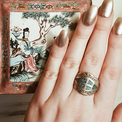 Vintage Turquoise Inlay Ring, Southwestern, Boho, Silver, Wide Band, Statement Ring, Ring Size 9, by Unsigned Beauty - Vintage Meet Modern - Chicago, Illinois