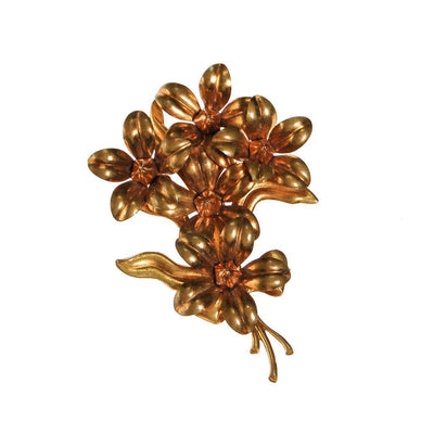 Gilt Gold Bouquet of Flowers Brooch by Unsigned Beauty - Vintage Meet Modern - Chicago, Illinois