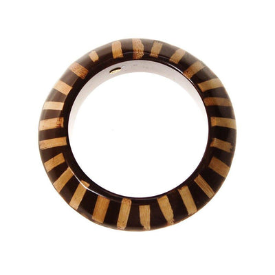 KJL Brown Lucite with Wood Bangle Bracelet by Kenneth Lane - Vintage Meet Modern Vintage Jewelry - Chicago, Illinois - #oldhollywoodglamour #vintagemeetmodern #designervintage #jewelrybox #antiquejewelry #vintagejewelry
