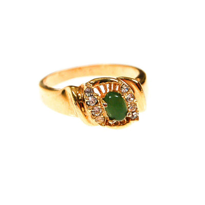 Faux Green Jade and CZ Statement Ring, Gold Tone, Designer Jewelry, Mid Century Modern 1950s, 1960s Era, Ring Size 8 by 1960s - Vintage Meet Modern - Chicago, Illinois