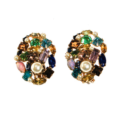 Colorful Rainbow Rhinestones Earrings by Unsigned Beauty - Vintage Meet Modern Vintage Jewelry - Chicago, Illinois - #oldhollywoodglamour #vintagemeetmodern #designervintage #jewelrybox #antiquejewelry #vintagejewelry